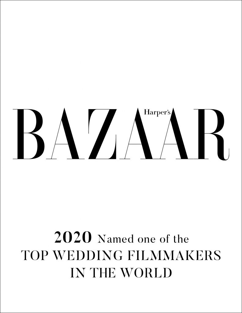 Just about the most highly coveted list out there, we were named as one of Harper's Bazaar Top 8 Wedding Filmmakers in the World.