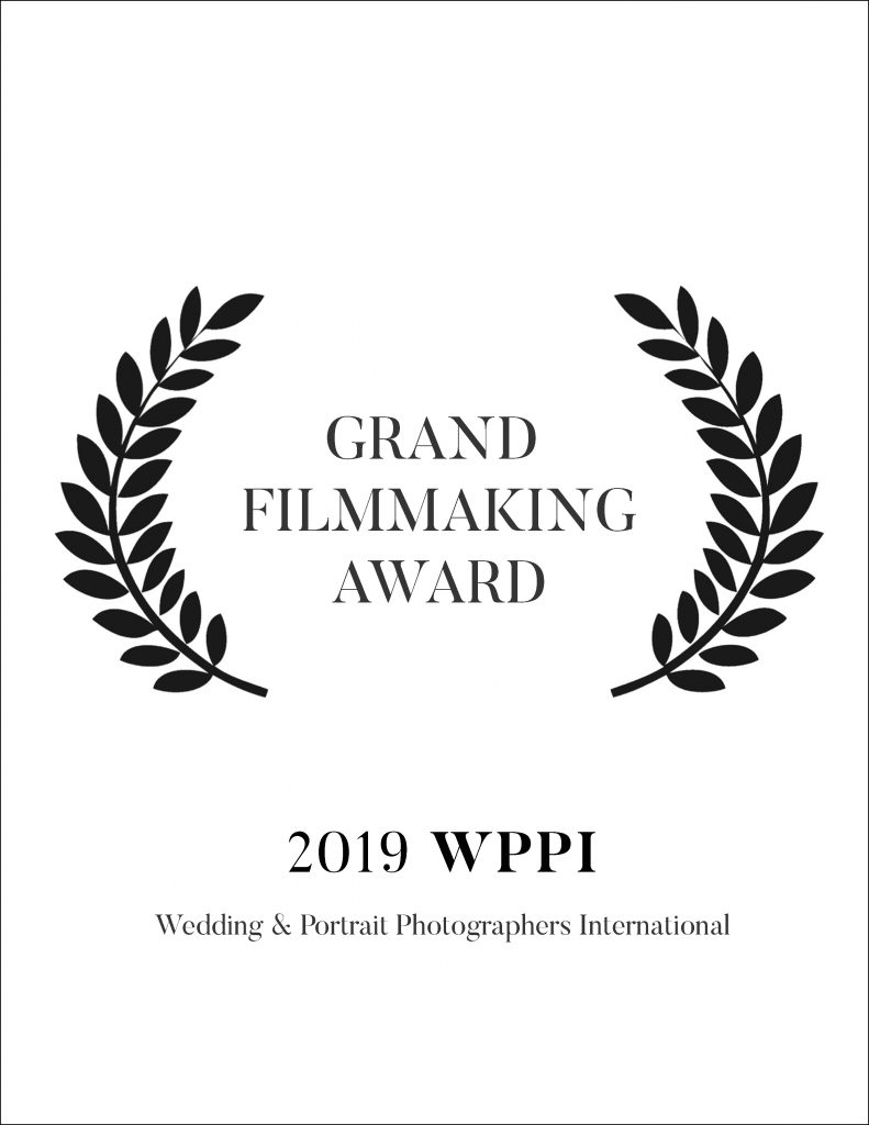 WPPI (Wedding + Portrait Photographers International) is the industry conference that brings together over 20,000 of the most talented creatives from all over the world. We were awarded the highest scoring film or photo from the entire conference and won the prestigious Bill Hurter Award. We also won the Grand Award and Best Wedding Film Award.
