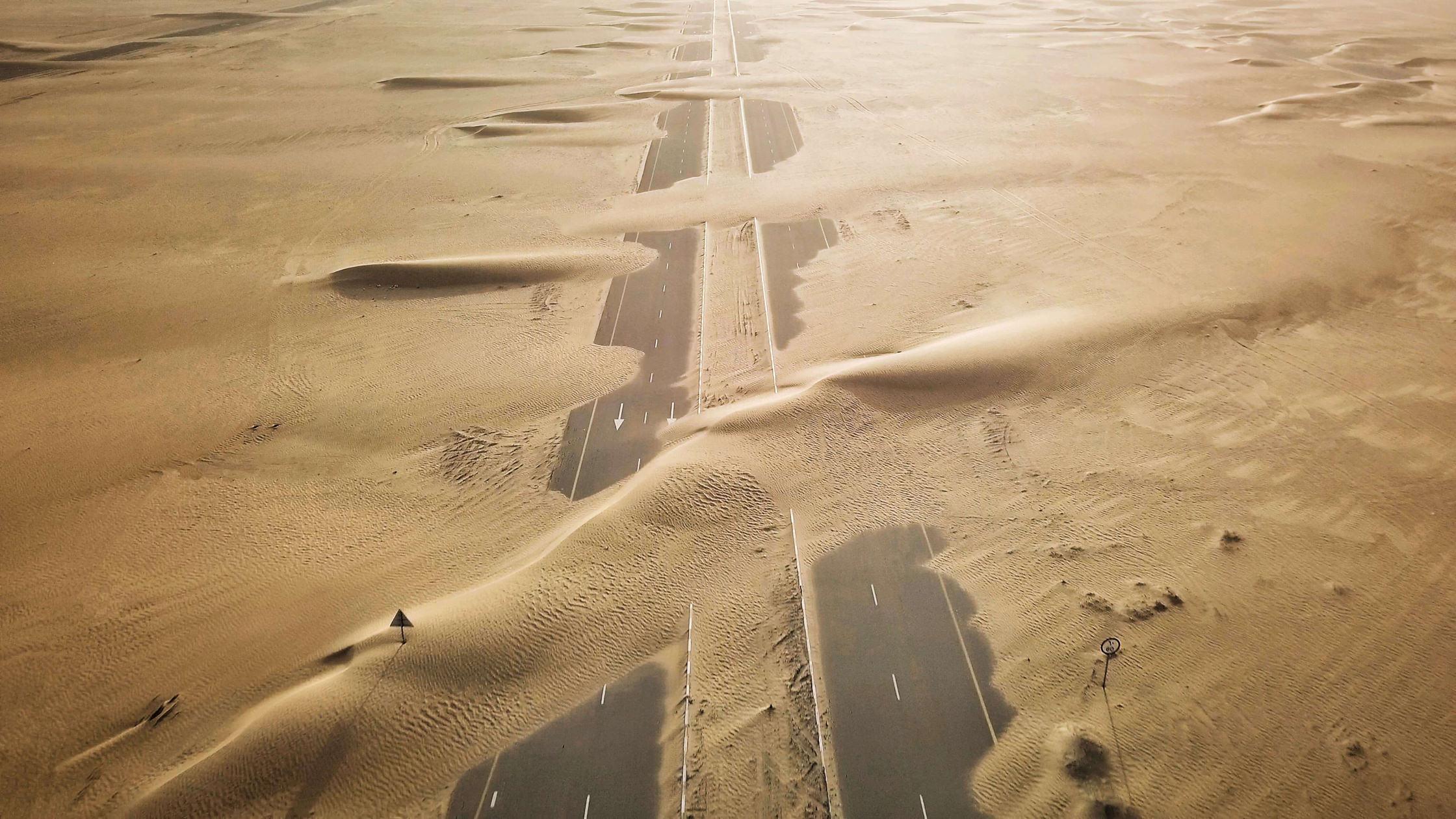 Dubai desert roads covered in sand