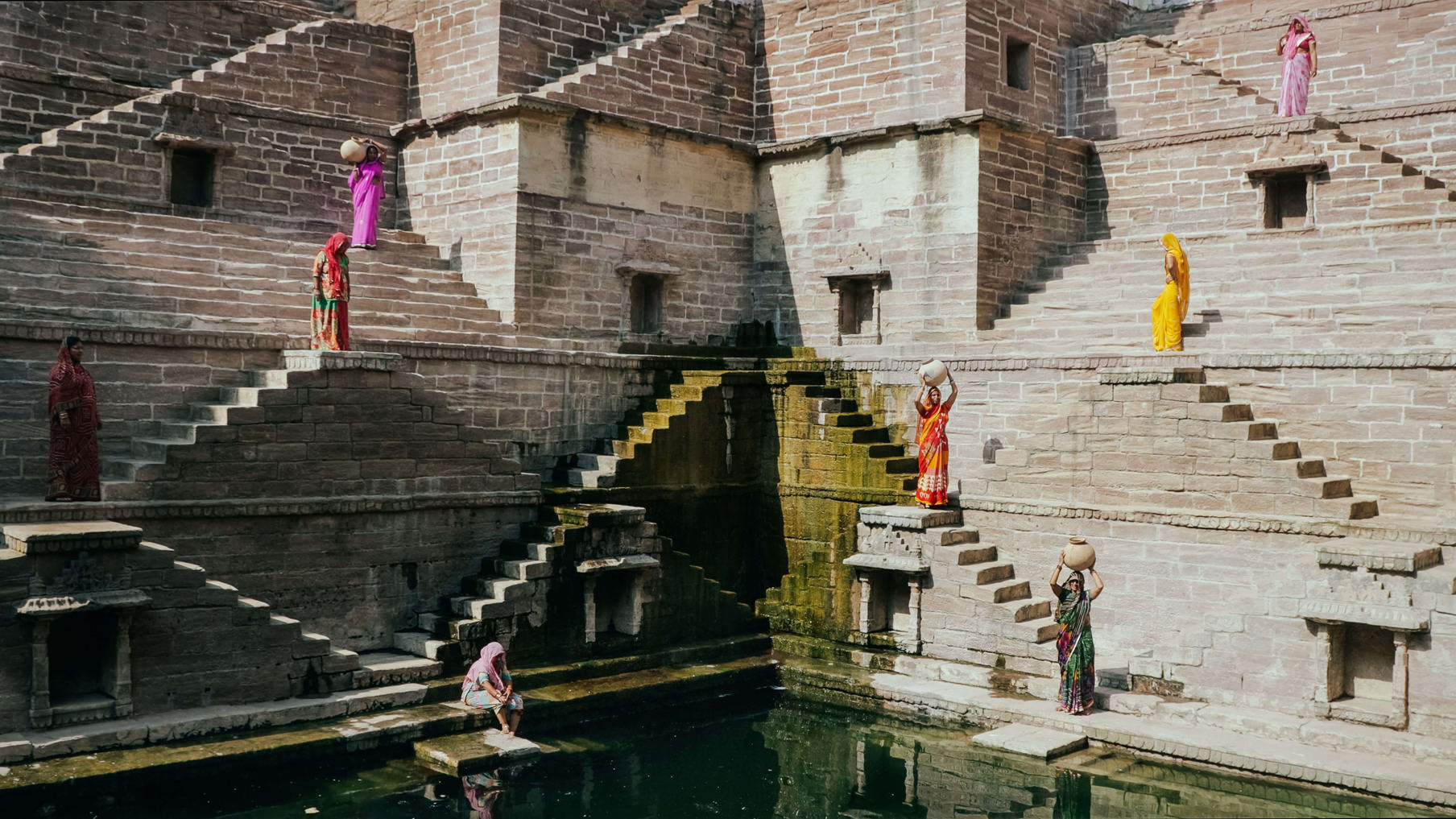 Jodhpur Stepwell with Women in colorful saris