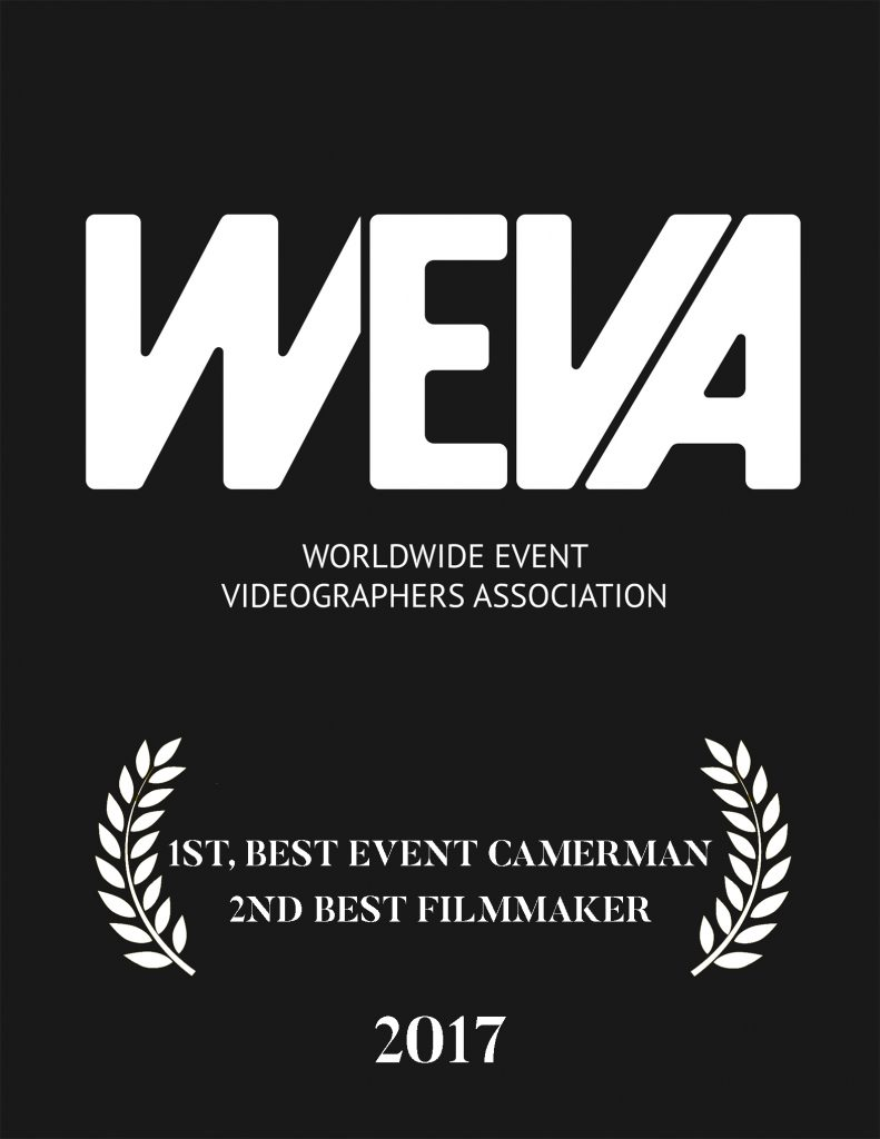 WEVA (Worldwide Event Videographers Association) has brought together the top filmmakers from around the world for years. In 2017 we won 1st Place for Best Cinematography and 2nd place for Best Filmmaker.