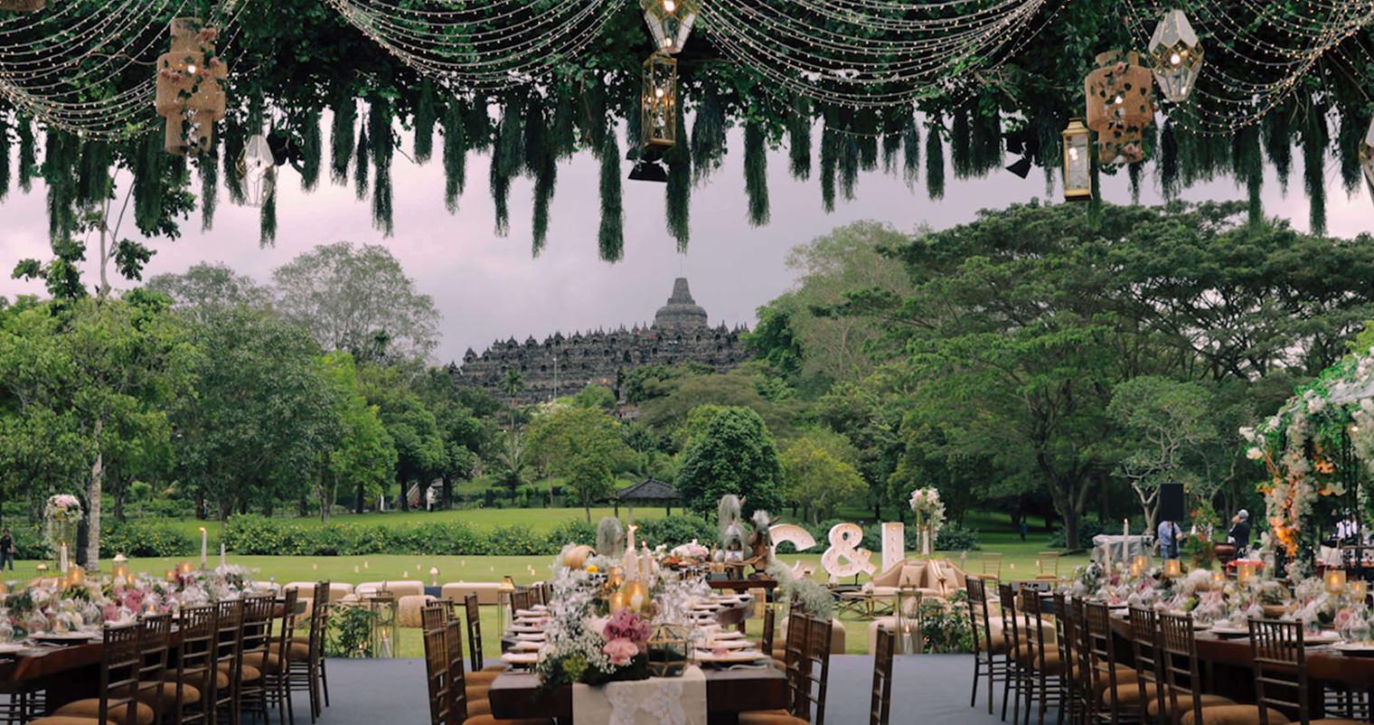 Borobudur Indonesia Wedding Reception Full Room Shot